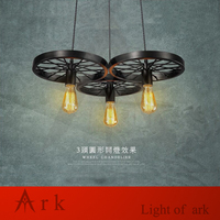 ARK LIGHT Free Shipping Vintage LOFT 100 240V 3 Head IRON Wheels Pendant Lights Industrial Style