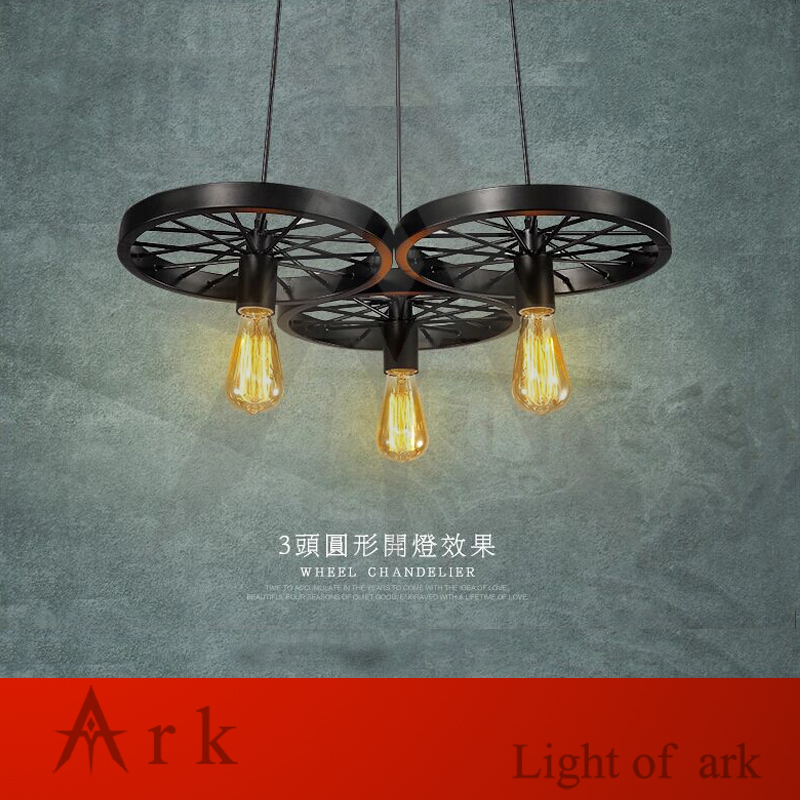 ARK LIGHT Free shipping Vintage LOFT 100-240V 3 head IRON  wheels pendant lights industrial style retro nostalgia  COFFEE HOUSE simline vintage 100