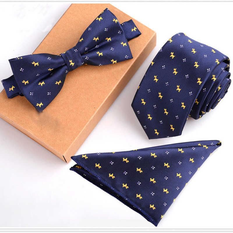 RBOCOTT Set Cravatta Mens Cravatta Sottile Dot Floreale Cravatte Hanky Bowtie 6 cm Blu Cravatta Pocket Piazza papillon Per uomini di Partito di Nozze Senza Scatola