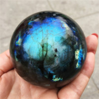 1pcs Crystal Ball Decoration Natural Labradorite Stone Ball Gray Moonstone Blues Gemstone orb Gem Crafts Home Decoration