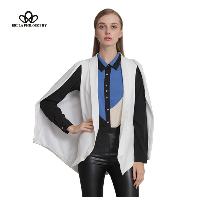 Bella Philosophy 2017 spring wine red navy blue white black new women's shawl blazer cape jacket