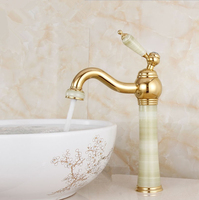 2016 European classical gold plated antique marble basin taps /Solid Brass Bathroom Basin Faucet/ wash basin Tap