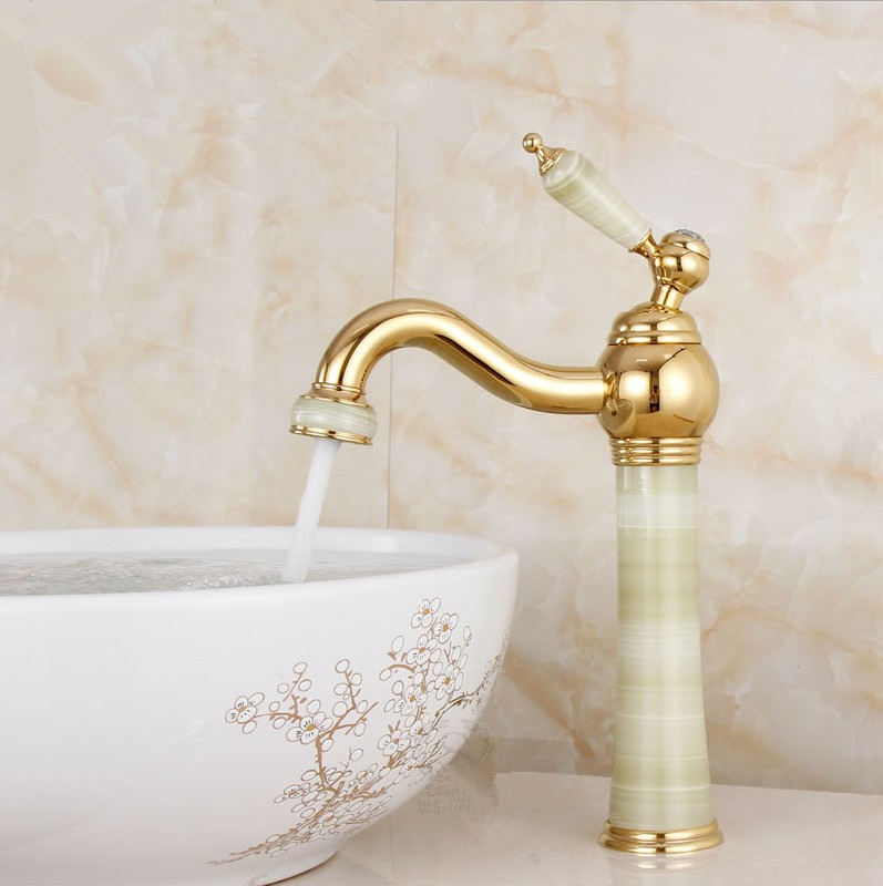 цена на 2016 European classical gold-plated antique marble basin taps /Solid Brass Bathroom Basin Faucet/ wash basin Tap