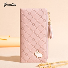 Купить с кэшбэком 2019 New Fashion Women Wallets Tassel Cartoon Long Purse Small Lamb Hardware  Female Wallets Clutch PU Leather Card Holder bags