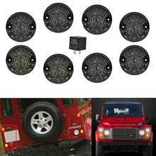 8pcs Smoked Lens For Land Rover Defender 90 110 1983- Complete LED Lamp Upgrade Kit 73MM