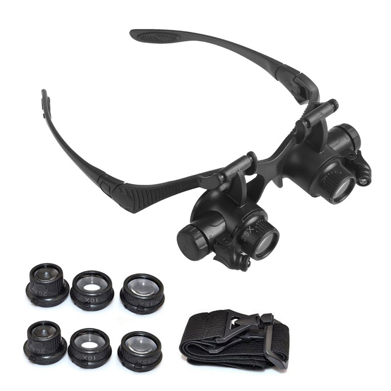 Safety Goggles Watch Repair Jewelry Magnifying Glasses With LED Light And Replaceable 4 Pairs Magnifier 10/15/20/25X Lens