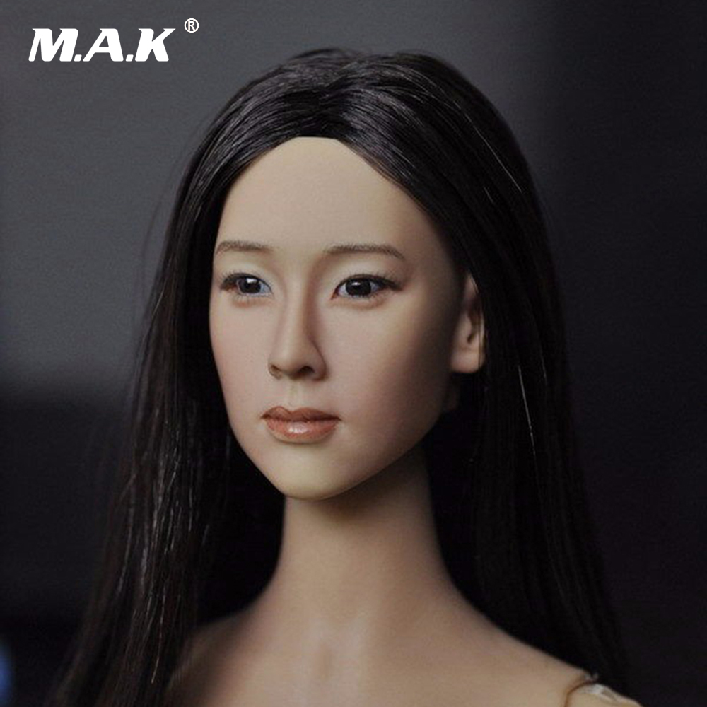 1:6 Asian Female Head Sculpt with Black Long Hair For 12 Women Action Figures Body Model Toys Collections