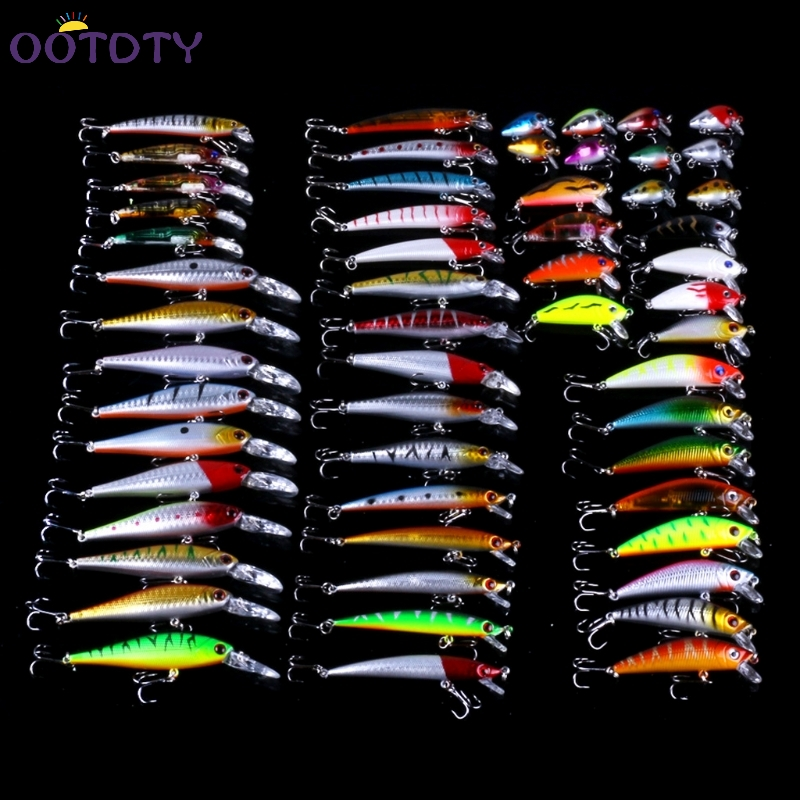 56pcs Lot Mixed Fishing Lures Bass Baits Wobbler Crankbaits Treble Hooks Tackle dynamite baits xl pineapple
