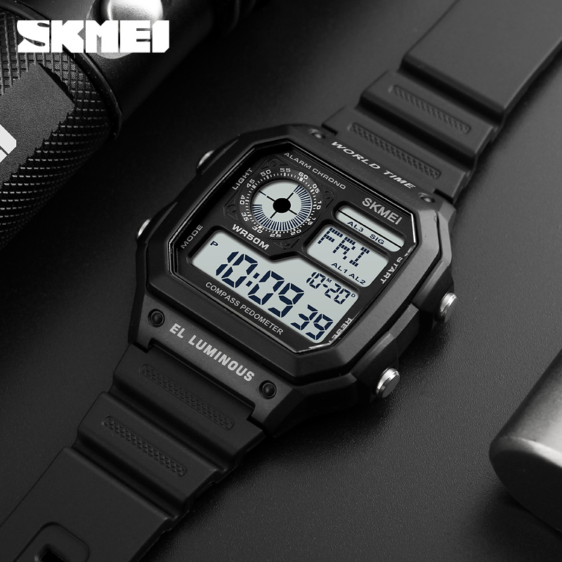 SKMEI Compass Countdown Sports Watches Mens Watches Top Brand Luxury Men Wrist Watch Waterproof Electronic Digital Male Watch outdoor sports watches men skmei brand countdown led men s digital watch altimeter pressure compass thermometer reloj hombre