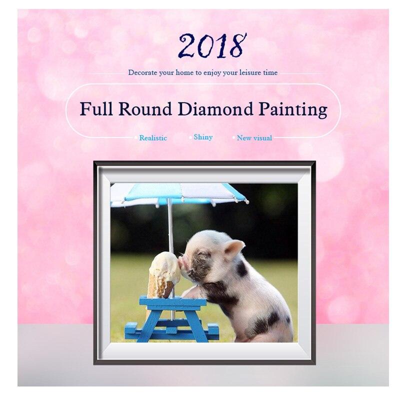 100 Full 5D Diy Daimond Painting Pigs ice cream 3D Diamond Paintings Round Rhinestones Full Diamant Painting Embroidery animals in Diamond Painting Cross Stitch from Home Garden