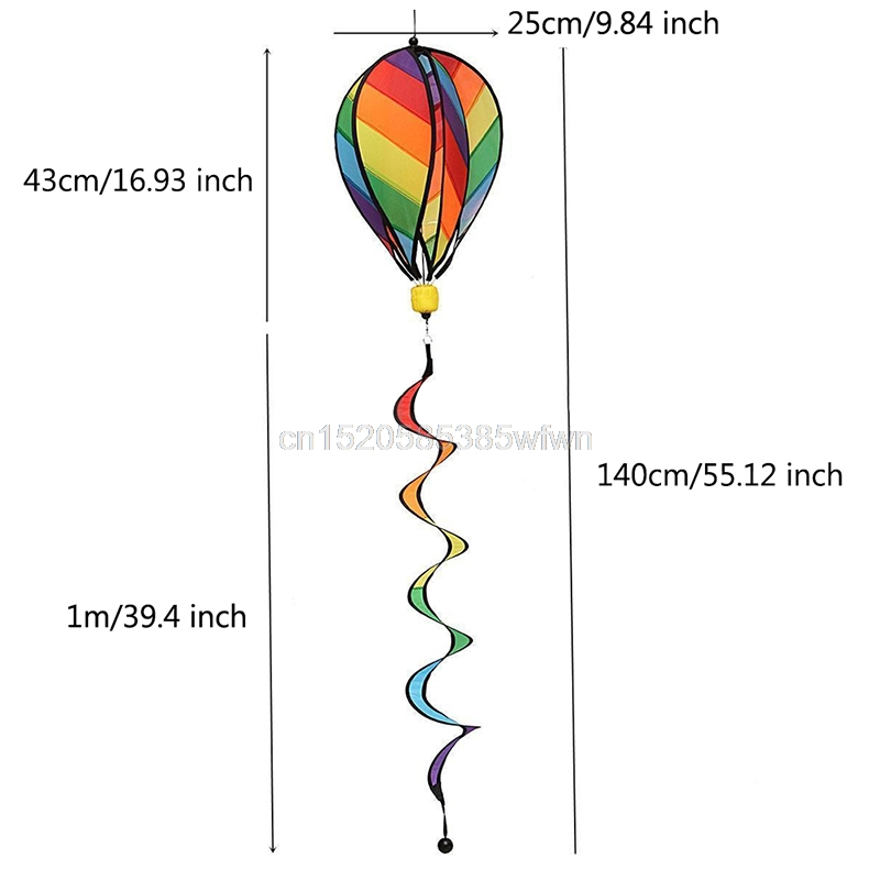 1Pc Rainbow Stripe Windsock Hot Air Balloon Wind Spinner Outdoor Kids Toy #HC6U# Drop shipping