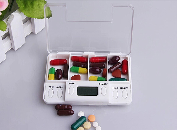 Daily Reminder Electronic Compartment Smart Timing Sealed Pill Case Medicine Box Container Tablet Storage Alarm Organizador