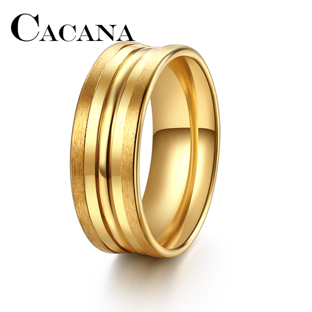 CACANA Titanium NEW 8mm Wide Classic 5-Row Stainless Steel Rings Simple Design M
