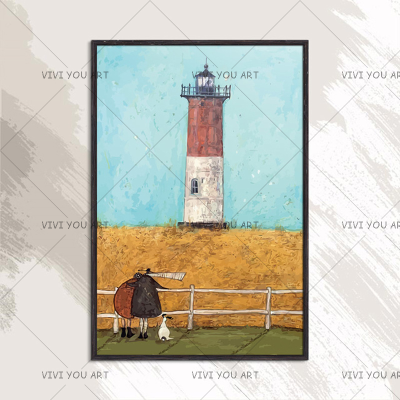 Pure Handmade Oil Painting On Canvas Wheat Field With Lighthouse High Quality Hand painted Creative Work