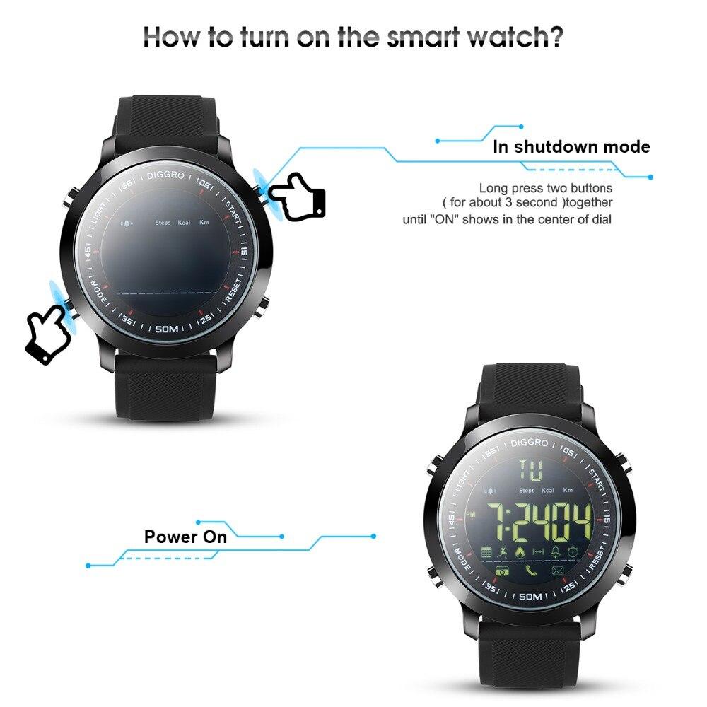 d2e33dbbce Alibaba グループ | AliExpress.comの スマート腕時計 からの Diggro EX18 スマート腕時計 5ATM プロ防水  Bluetooth 歩数計リアルタイムスポーツロングスタンバイため ...
