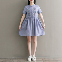 Short Sleeve Cotton Vintage Dress 2018 New Summer Women Blue Striped Flower Embroidery Dresses