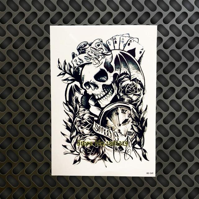 diy amovible temporaire de tatouage punk cr ne poker horloge temps rose fleur bras tatoo body. Black Bedroom Furniture Sets. Home Design Ideas