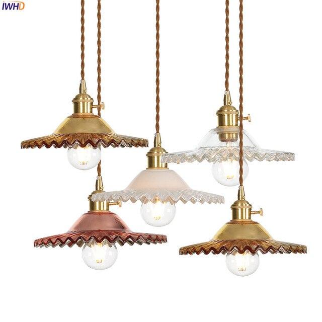 IWHD لوفت نمط الشمال الزجاج قلادة أضواء تركيبات الطعام غرفة المعيشة الرجعية خمر نجفة تركيبات Hanglamp اديسون