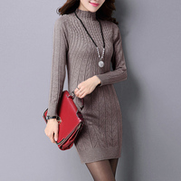 2017 Women Knitted Cotton Solid Color Stand Collar Sweater Dresses Plus Size S 3XL Casual Sexy