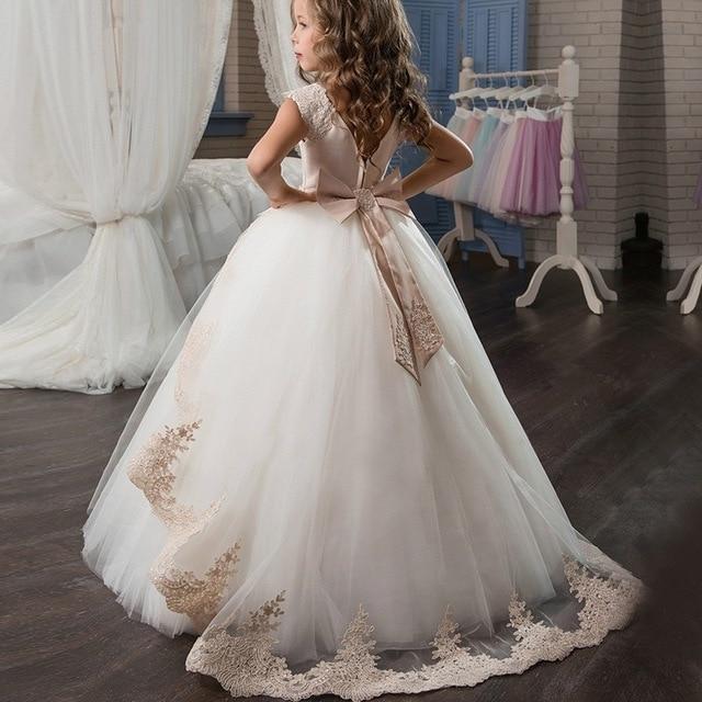 Elegant Princess Dress Children Girls Evening Party Dress 2019 Summer Kids Dresses For Girls Costume Flower Girls Wedding Gown 1