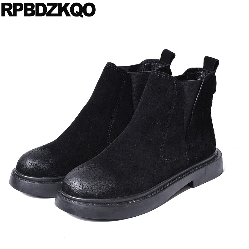 Flat Booties Elastic Autumn Shoes Slip On Ankle Fall Black Women Boots 2016 Round Toe Suede Chelsea Platform Ladies Female Short martine women ankle boots flat with chelsea boots for ladies spring and autumn female suede leather slip on fashion boots