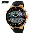 SKMEI 1016 Brand New Men Military Sport Watches 2 Times Zone Backlight Quartz Chronograph Jelly Silicone Swim Dive Wrist Watch
