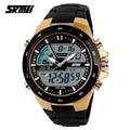SKMEI 1016 Brand New Men Military Sport Watches 2 Times Zone Backlight Quartz Chronograph Jelly Silicone Swim Dive Wrist Watch