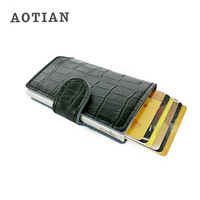 AOTIAN 2017 New RFID Credit Card Holder Metal Men Aluminum Safe Travel Business PU Leather Money Bag Small Wallet New Mini Purse