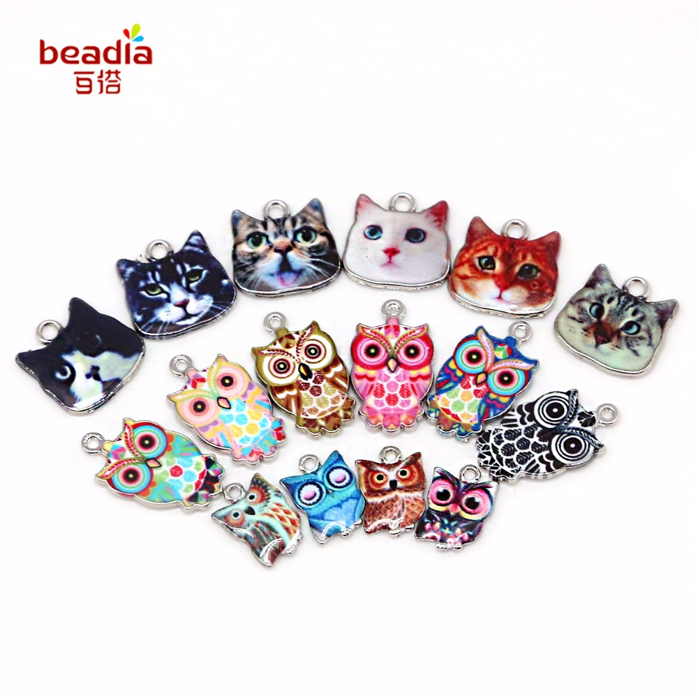 NEW Arrival Zinc Alloy Owl Cat 1.5mm 2mm Hole For Jewelry Findings Making Spacer Enamel Necklace&Pendant Bracelet Materials Gift