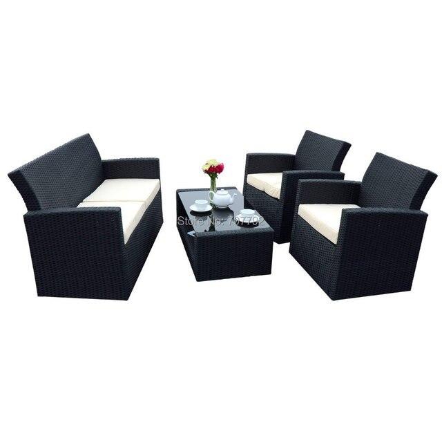 4 Piece Black Tuscany Rattan Wicker Sofa Chair Set Garden Conservatory Furniture