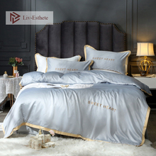 Liv-Esthete 100% Silk Light Gray Luxury Bedding Set Embroidery Duvet Cover Flat Sheet Bed Linen Double Queen King For Adult