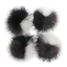 15 16cm Gerçek Kürk Rakun Ponponlar Pompon Kış örme bere Şapka Kapaklar Hakiki kürk pom pom Eşarp Anahtarlıklar toptan