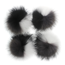 15 16cm Real Fur Raccon Pompoms Pompon For Winter Knitted Beanie Hat Caps Genuine fur pom pom Scarves Keychains Wholesale