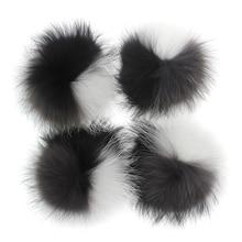 Pompón de piel auténtica de 15 16 cm, pompón de piel auténtica para invierno, gorro de punto, gorro, gorro, de piel auténtica Pompón, bufandas, llaveros al por mayor