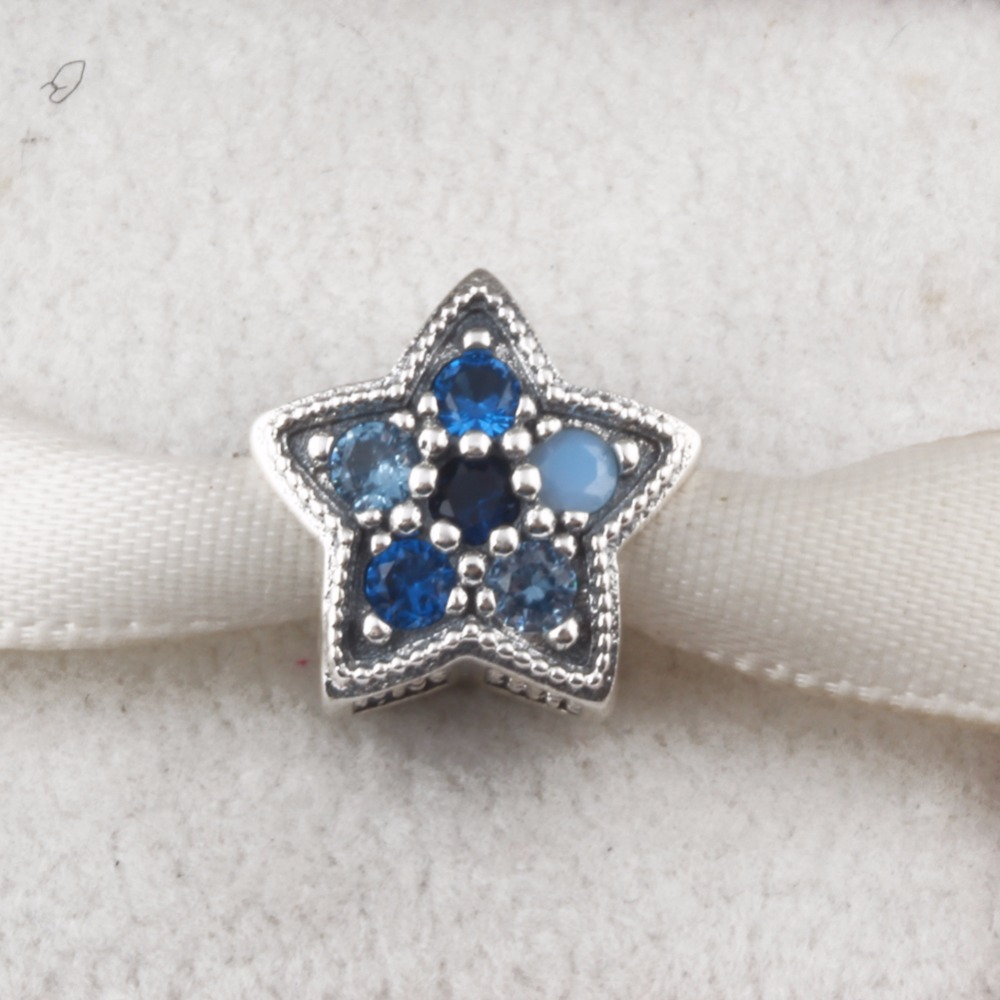 ZMZY Blue Crystal Star Charms Fits Pandora Bracelet Original 925 Sterling Silver Charm for Women DIY Jewelry Christmas Gift