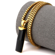 New Fashion Gold Plated Charm Black Elongated Gem Pendant Necklace Bling Iced Out agate Stone Hip Hop Men Women Jewelry