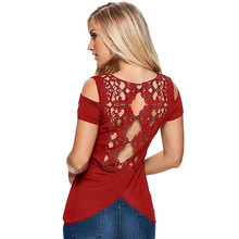 Women Sexy Back Hollow Out Lace Crochet Short Sleeve t Shirt Summer Casual Solid Slim Fit Tee Tops Plus Size