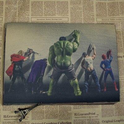 Vintage Comics superhéroes americanos Marvel lindo Spiderman Hulk póster Retro Kraft papel decoración del hogar pegatina de pared