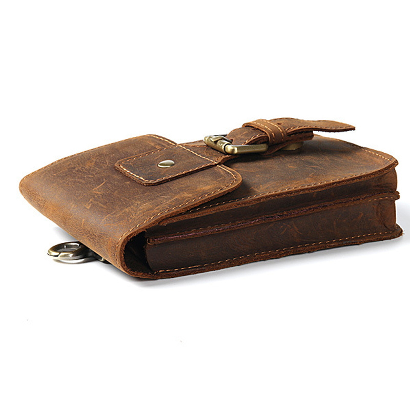Men Waist Bag Casual Durable Waist Pack Belt Leather Military Bag Zipper Waterproof Waist Bag