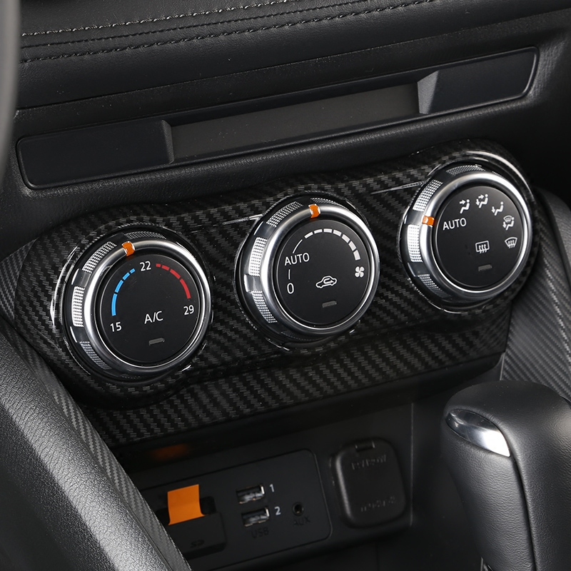 Carbon fiber style abs air conditioning switch cover trim - 2004 mazda 3 interior accessories ...