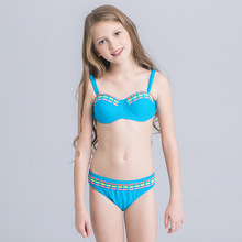 2017 New Contrast Color Bikini Kids Baby Bordered Swimsuit For Girls Cute Children Swimwear Child Biquini Lovely Girls Beachwear