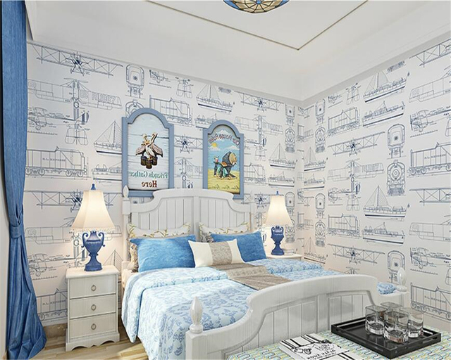 Beibehang European Style Simple Children S Room Wallpaper Boys And Bedroom Plane Printing