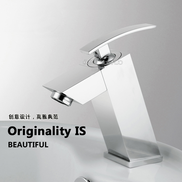 Full Copper hot and cold basin faucet bathroom cabinet single hole single horse counter basin beightening basin mixer tap