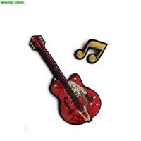 2017 DIY New High quality 3D Hand embroidered badges Electric guitar Armband applique for Coat Trousers Bag Brooch