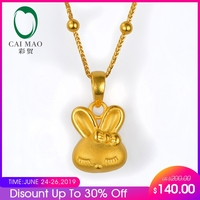 CAIMAO 24K Pure Yellow Gold Cute Rabbit Pendant Real 999 3d Hard Gold Process Fine Jewelry Exquisite Gift