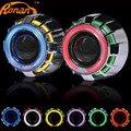 2.5 pulgadas Doble Ojos de Angel CCFL faros Bi-xenon HID Proyector Lente LHD RHD con adaptador car styling Uso bulbo del xenón h1 H4 H7