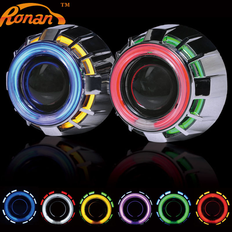 ФОТО 2.5inch Double Angel Eyes CCFL Bi-xenon HID Projector headlight Lens LHD RHD with H4 H7 adapter car styling Use xenon H1 bulb