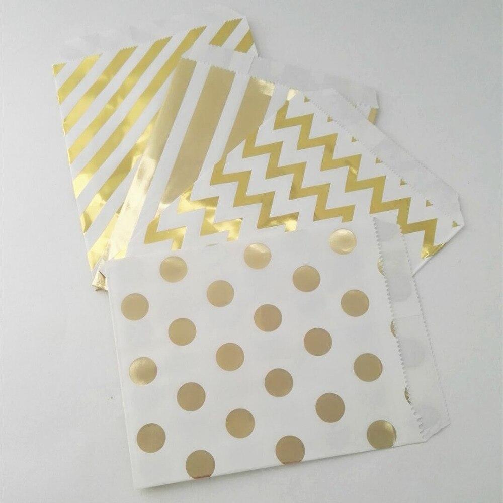 200pcs Foil Gold Paper Party Gift Bags Chevron Striped Dot Style ...