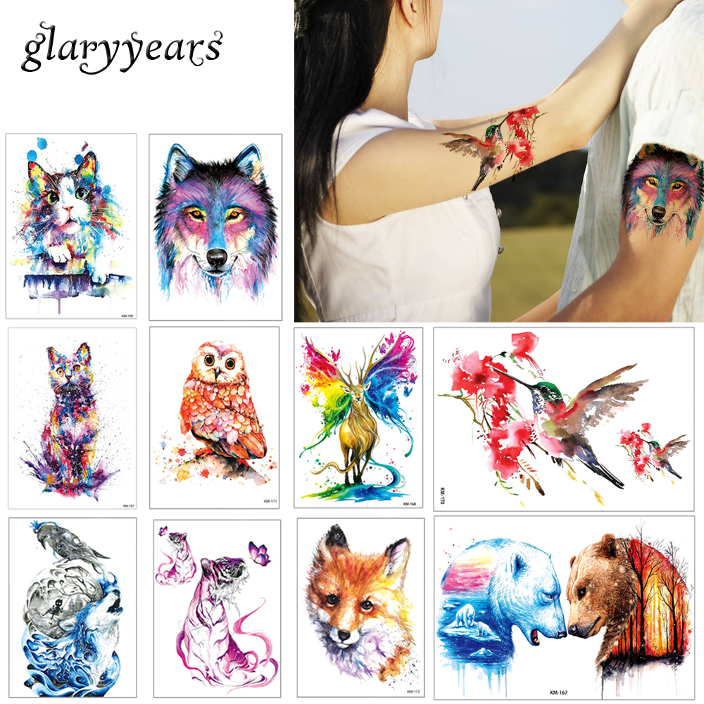 c7ee3fafa glaryyears 24 Designs 1 Sheet Watercolor Drawing Animal Tattoo Sticker Owl  Panda Pattern Decal Fake Beauty Temporary Tattoo Gift