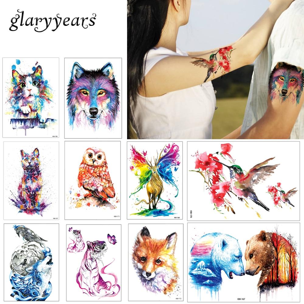 Glaryyears 24 Designs 1 Sheet Watercolor Drawing Animal Tattoo Sticker Owl Panda Pattern Decal Fake Beauty Temporary Tattoo Gift